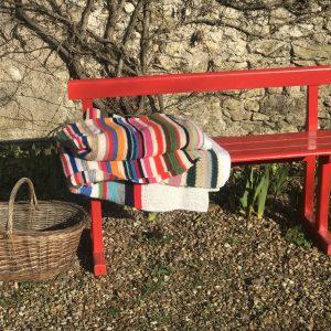 Plaid vintage en tricot multicolore grand format