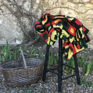Grand plaid vintage en tricot fait main