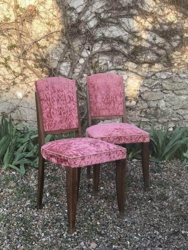 Paire de chaises art deco velours rose