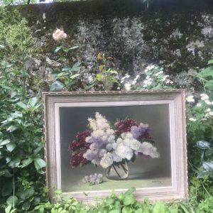 Tableau ancien bouquet de lilas