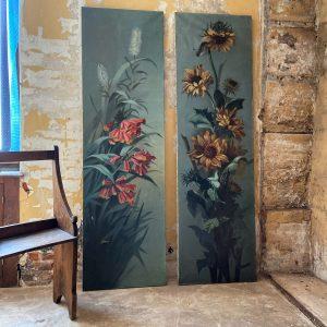 Paire de tableaux anciens de fleurs grands formats