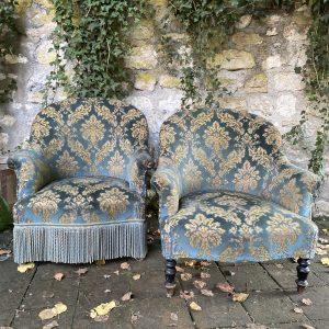 Paire de fauteuils crapaud velours Napoléon III