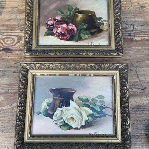Tableau ancien bouquet de rose